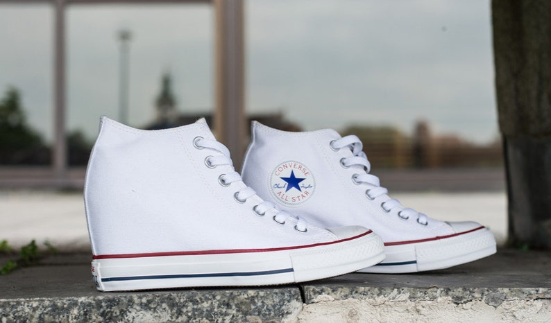 06fec0d42bf5 White W US 10.5   11 Leather Converse High Rise Lux Hidden