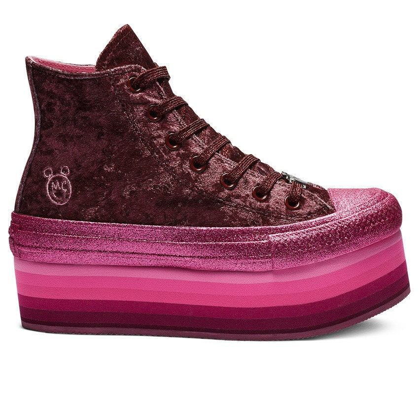 8f3a822afbed Pink Converse High Fuchsia Glitter Platform Velvet 2018 Miley Cyrus Custom  w  Swarovski Crystal Chuck Taylor All Star Sneakers Shoes