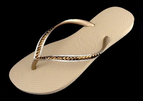 Gold Havaianas Slim sandals Sand Gray Golden Metallic Beige Tan w/ Swarovski Dorado Ore Rhinestone Jewel Bridal Wedding Flip Flop Bling Shoe