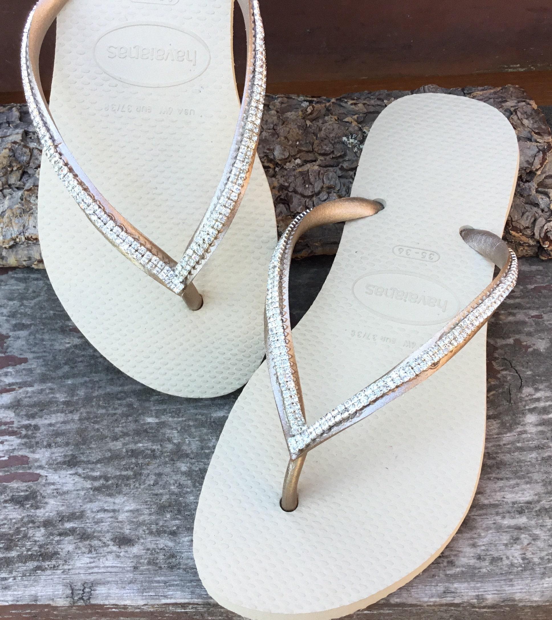 f635acc63382 Custom Havaianas Slim Flip Flops with Silver Cup Chain Mesh Crystal Clear  gems 2 row Bling Rhinestone Jewels Beach Thong Wedding Shoes