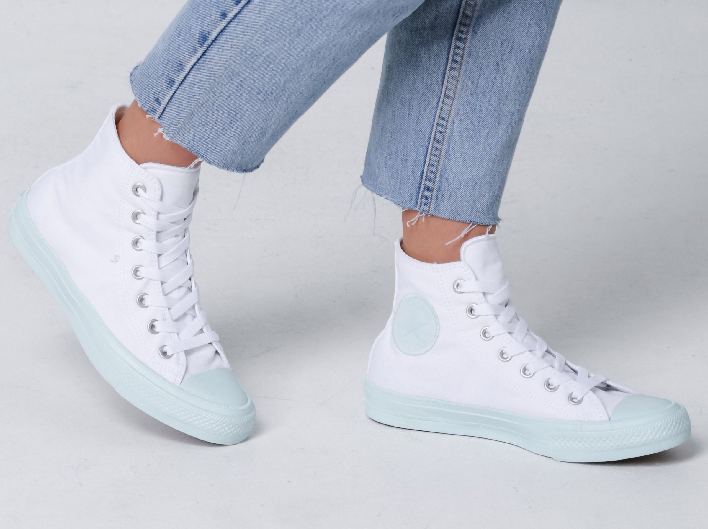 7303311ff73e7c White Converse High Top Fiberglass Aqua Mint Custom Bling w  Swarovski  Crystal Rhinestone Kicks Chuck Taylor II All Star Bride Sneakers Shoe