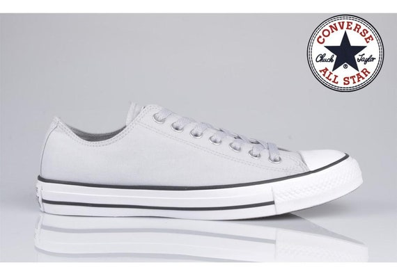 Gray Converse Silver Cool Grey Mono Mouse Ash Low Top Custom Bling w/ Swarovski Crystal Rhinestone Jewel Chuck Taylor All Star Sneakers Shoe