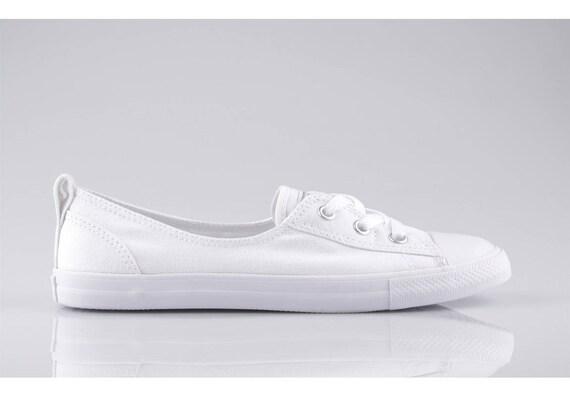 ee7de46f827b White Converse Slip On Custom Low Top Ballet Lace Wedding