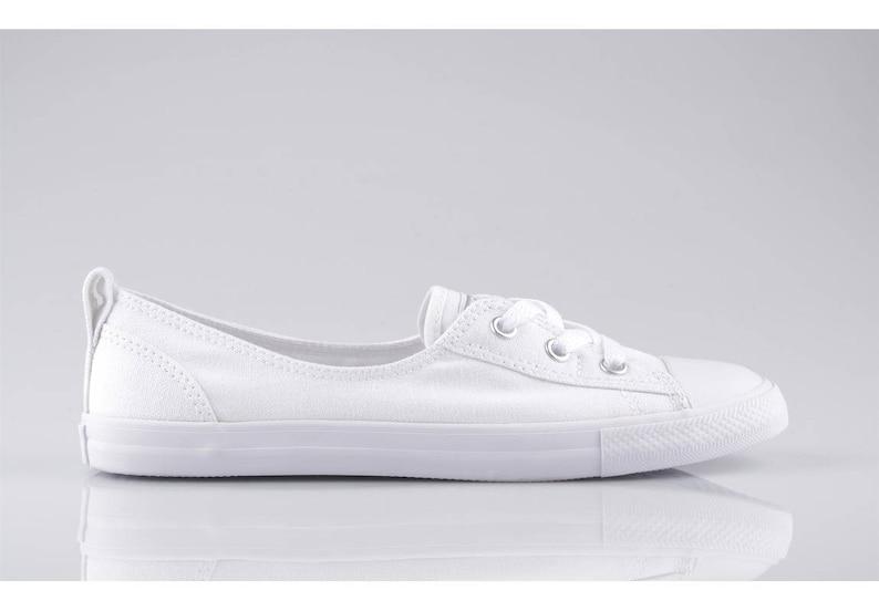 da5ecf068866 White Converse Slip On Custom Low Top Ballet Lace Wedding