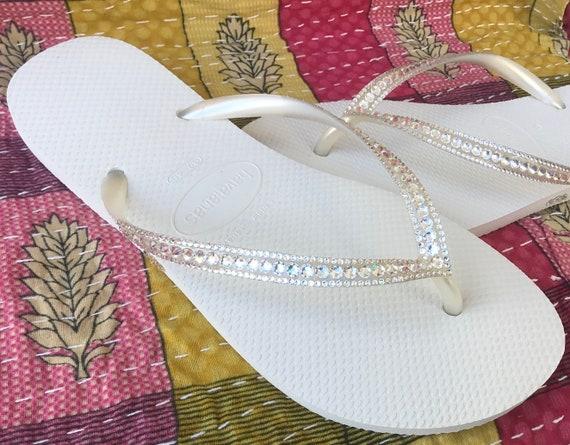 White Havaianas Flip Flops Slim Crystal Clear Ivory Moonlight Ocean Custom Bridal w/ Swarovski Dynamite Rhinestone Beach Sea Wedding Shoes