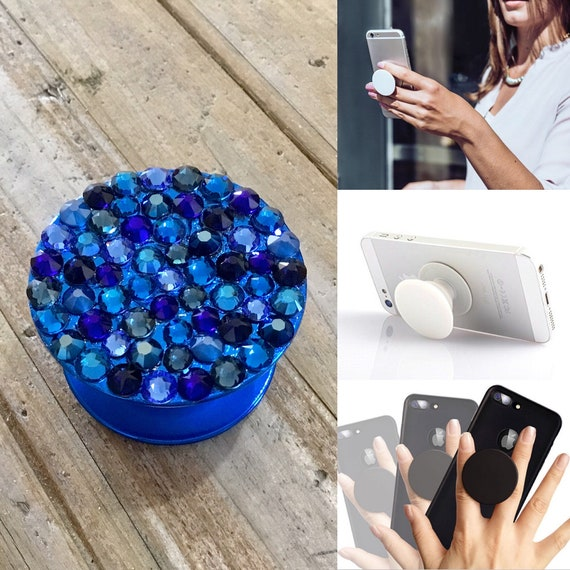 Crystal Phone Pop Grip Stand Dock 3M Prop Dark Blue Metallic w/ Swarovski Bling Rhinestone Android Galaxy iPhone Case Tech Christmas Gifts