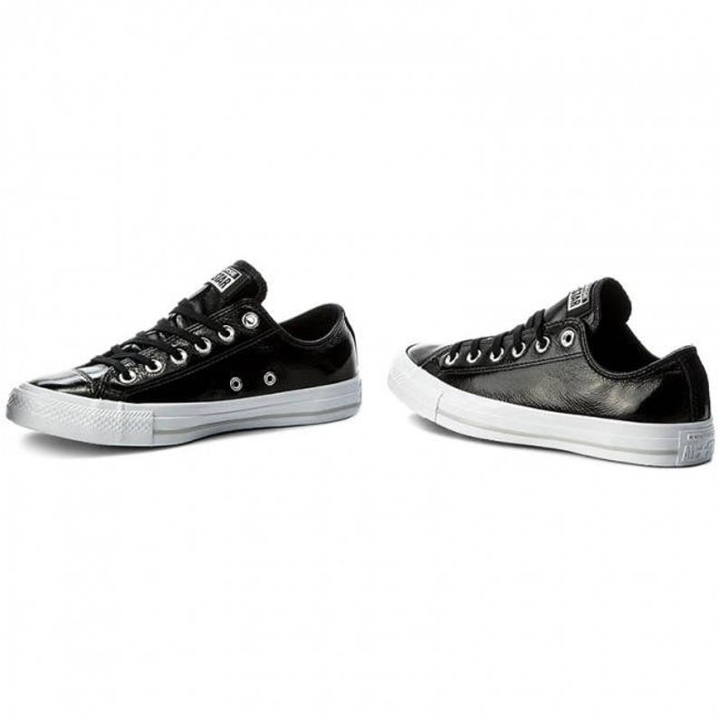 959472996e6a Black Patent Leather Converse Low Top US W 8 Bling w