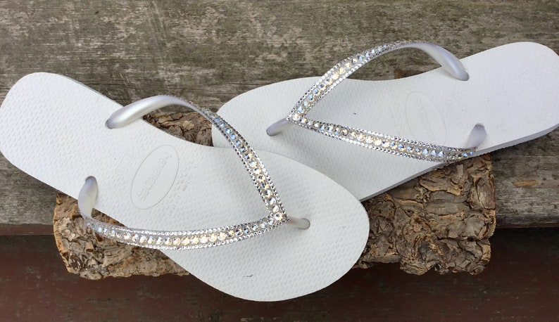 f42c23093f71 White Havaianas Flip Flops Slim Ivory Moonlight or Crystal Clear Ocean  Custom Bridal w  Swarovski Dynamite Rhinestone Beach Wedding Shoes