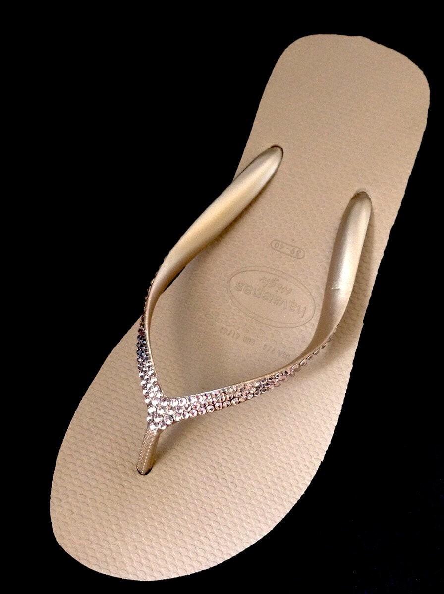 5fab7fdadc532 Rose Gold Havaianas Wedge Flip Flops Custom Rhinestone Bling High Fashion  2.4 Crystal Heels w  Swarovski Vintage Rose Blush Thongs Shoes