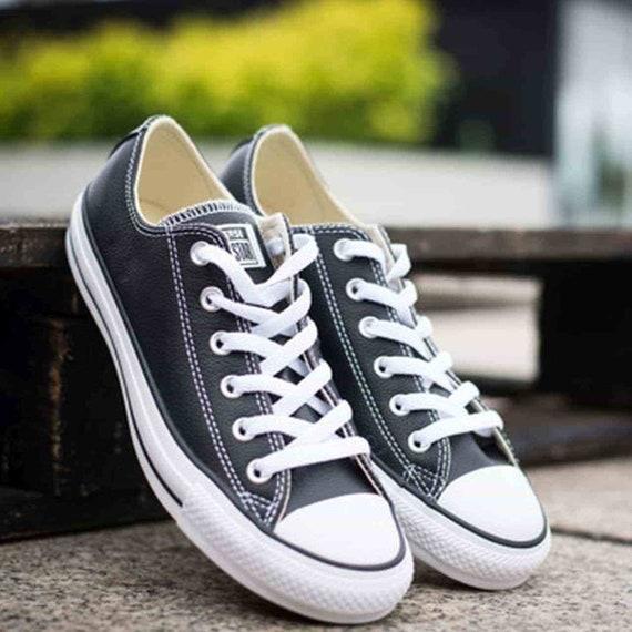 a74b40eb4 Black Leather Converse Low Top Ladies Mens Custom Bling w/   Etsy