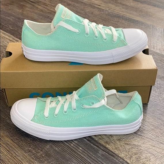 Mint Green Converse Cotton Moonstone Low Sea Foam Teal Pistachio Bridal w/ Swarovski Crystal Rhinestone Bride All Star Wedding Sneakers Shoe