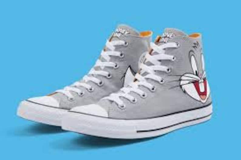 62bacc187a3a Kids Converse Looney Tunes High Top Bugs Bunny Cartoon Gray