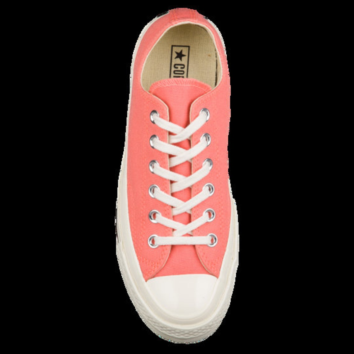 Watermelon Coral Converse 70s Pink Low Tops Custom Kicks w/ Swarovski Crystal Rhinestone Chuck Taylor All Star Bridal Wedding Sneakers Shoes