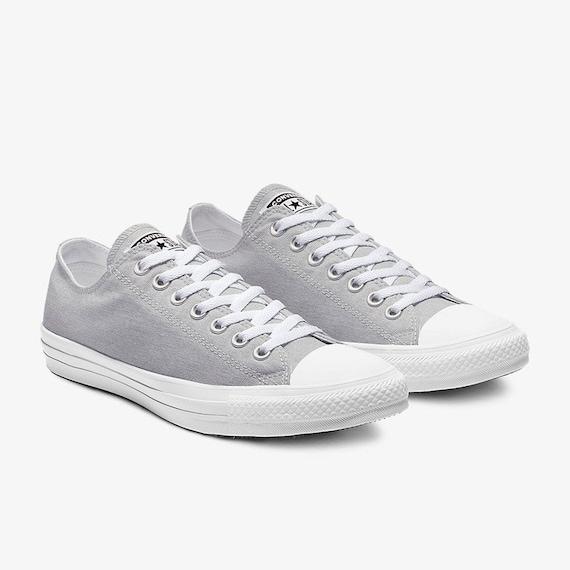Gray Silver Converse Low Top Stonewash Grey Custom Kicks w/ Swarovski Crystal Rhinestone Bling Chuck Taylor All Star Wedding Sneakers Shoes