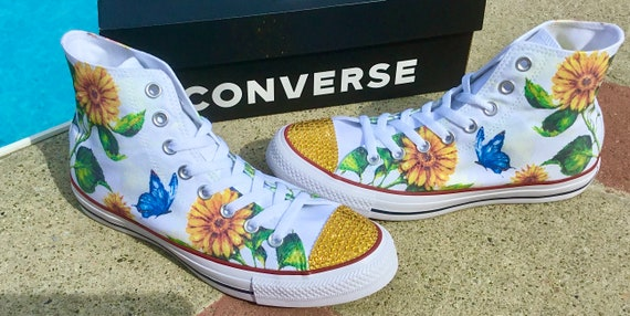 Sunflower High Top Chucks White Yellow Butterfly Floral Wedding Custom Print Lori Diamond w/ Swarovski Crystal Rhinestone Sneakers Shoes