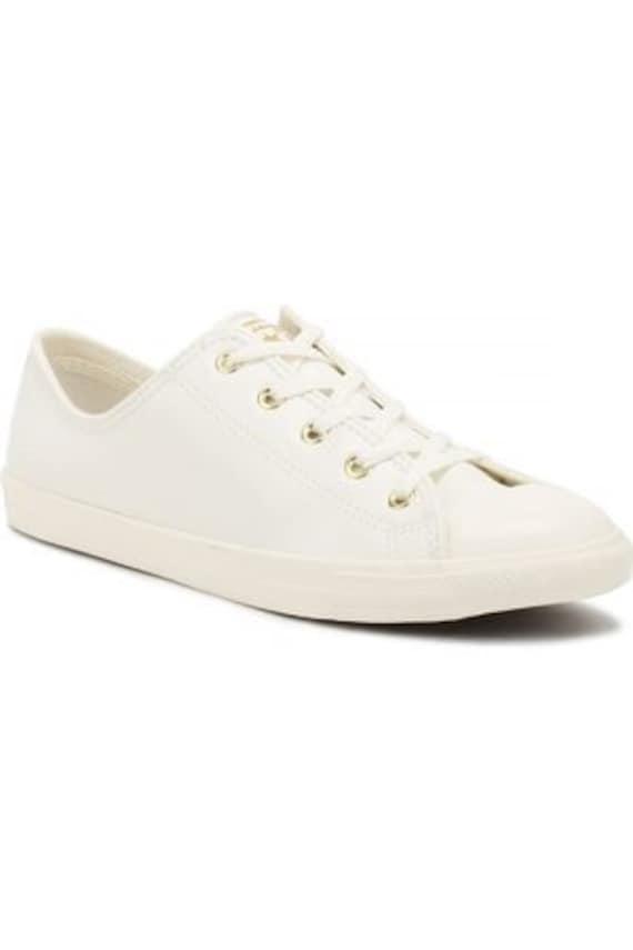 White Ivory Converse Dainty Leather Gold W US 8 Bride Slip on w/ Swarovski Crystal Rhinestone Chuck Taylor All Star Wedding Sneakers Shoes