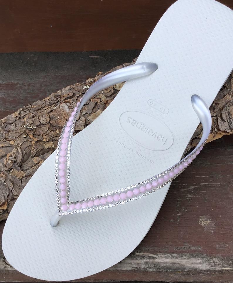 01d74222ab7c2c Custom Rose Petal Pink Slim Bride Crystal Flip Flops White