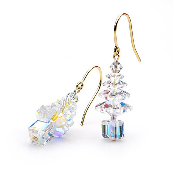 Christmas Tree Crystal AB Star Earrings Winter Drop Dangle Silver Titanium Hypo w/ Swarovski Iridescent Clear Bead Holiday Jewelry Gift set