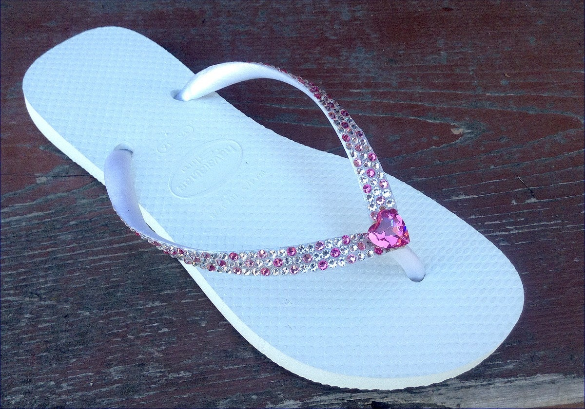 a98bdd673 White Havaianas Slim Flip Flops Pink Heart Custom Wedding Confetti w  Swarovski  Crystal Vintage Rhinestone sandals Beach Bridal Shoes Thongs