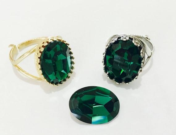 Emerald Green Bezel Oval Finger Ring Antique Silver plated or Gold Brass Adjustable Cocktail w/ Swarovski Vintage Crystal Jewel Ladies Gift
