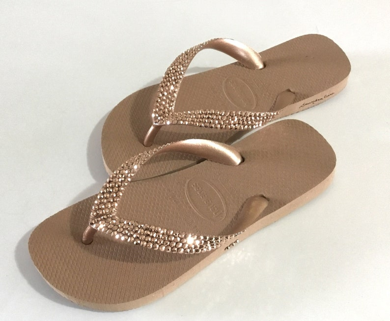 619e24518a398 Rose Gold Flip Flops Custom Crystal Flat Havaianas Metallic