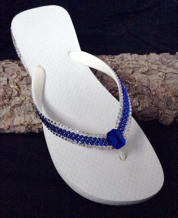High Heels Crystal Flowers Floral Black Flip Flops //w Swarovoski Crystals