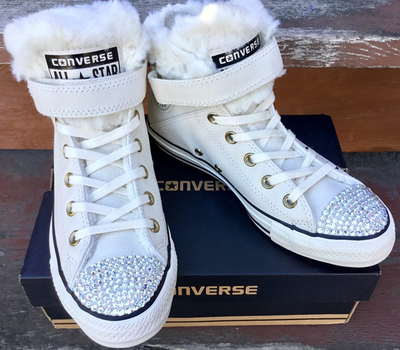 e9186b7f23a White Converse Fur Lined SheepsWool Leather High Top W US 8