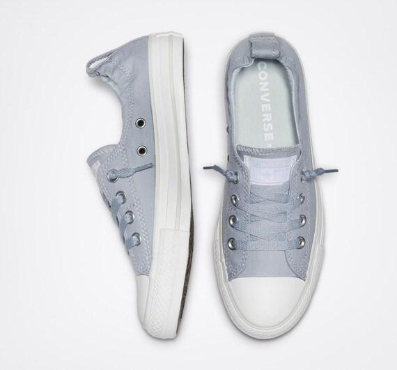 Light Gray Converse Shoreline Slip on Custom w/ Swarovski Crystal Rhinestone Jewels Grey Chuck Taylor All Star Wedding Sneakers Boat Shoes