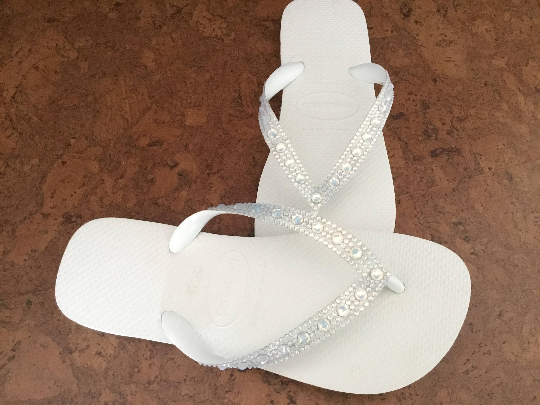 0cb2a968da4423 White Opal Golden Crystal Wedding Flip Flops Full Moon Bling Havaianas  Cariris Wedge Heel w  Swarovski Rhinestone Beach Bride Reception Shoe