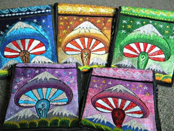 Purple Hippie Hobo Bag Purse Custom w/ Swarovski Crystal Bling from Nepal GlassSlippers Mushroom Cross Body Messenger Pink Green  Blue Brown