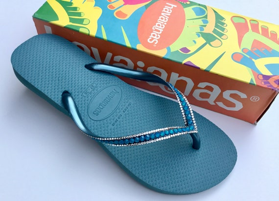 Blue Havaianas Slim Flip Flops Azure Mineral Teal Turquoise Sea Ocean Custom w/ Swarovski Rhinestone Jewel Beach Bridal Wedding Bling Shoes