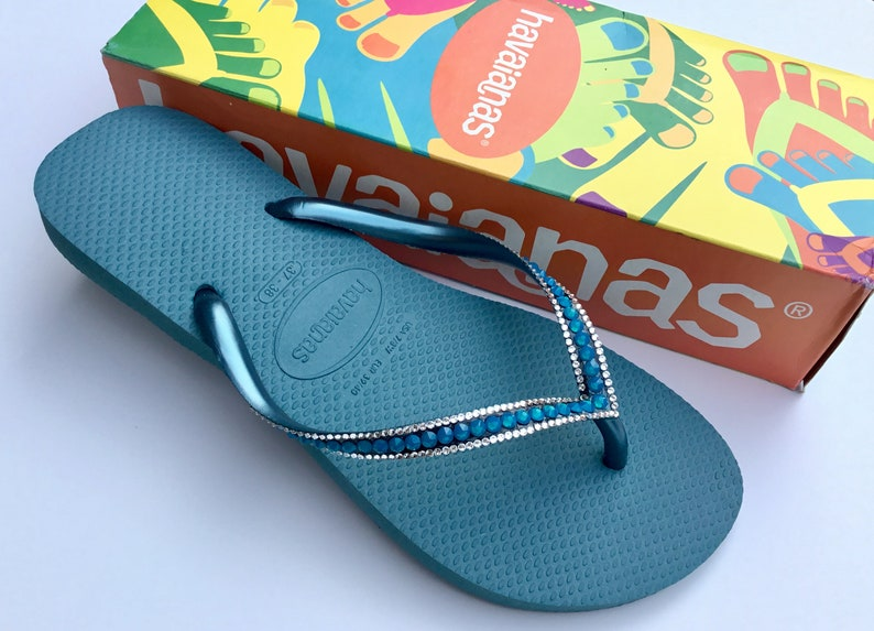 efbeb014a3c8d0 Blue Havaianas Slim Flip Flops Azure Mineral Teal Turquoise