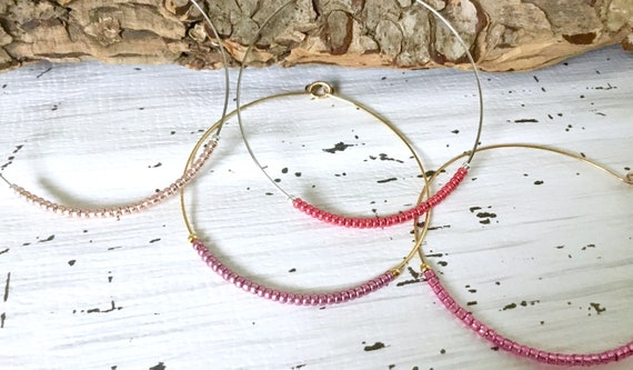 Hoop Earrings 2 inch Shades of Rose Pink Wire French Hook Minimalist Hypo Titanium Silver Stainless Gold Seed Bead Ladies Jewelry Gift
