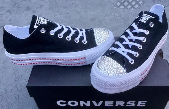 "Black 1.5"" Platform Heart Custom Converse Lift wedge Low Club w/ Swarovski Crystal Chuck Taylor All Star Wedding Bridal Kicks Sneakers Shoes"