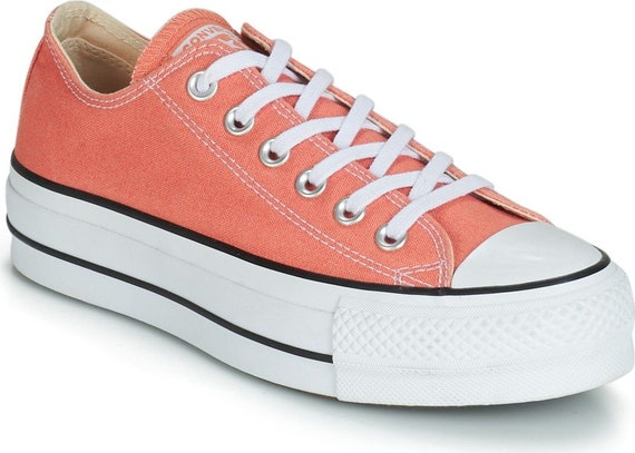 Burnt Orange Peach Coral Converse Platform Apricot Lift Canvas Low Club Kick w/ Swarovski Crystal Chuck Taylor All Star Wedding Sneaker Shoe