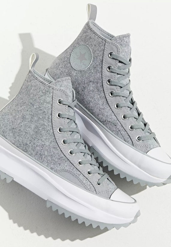 Gray Converse Run Star Hike Felt Winter Boots Platform Wedge High Grey Kicks w/ Swarovski Crystal Rhinestones Chucks All Star Sneakers Shoes