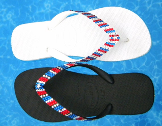 Pride Crystal Flip Flops Havaianas flat Cariris Wedge Heel Stars & Stripes Memorial DayUSA Red White Blue July 4th Independence Days Shoes