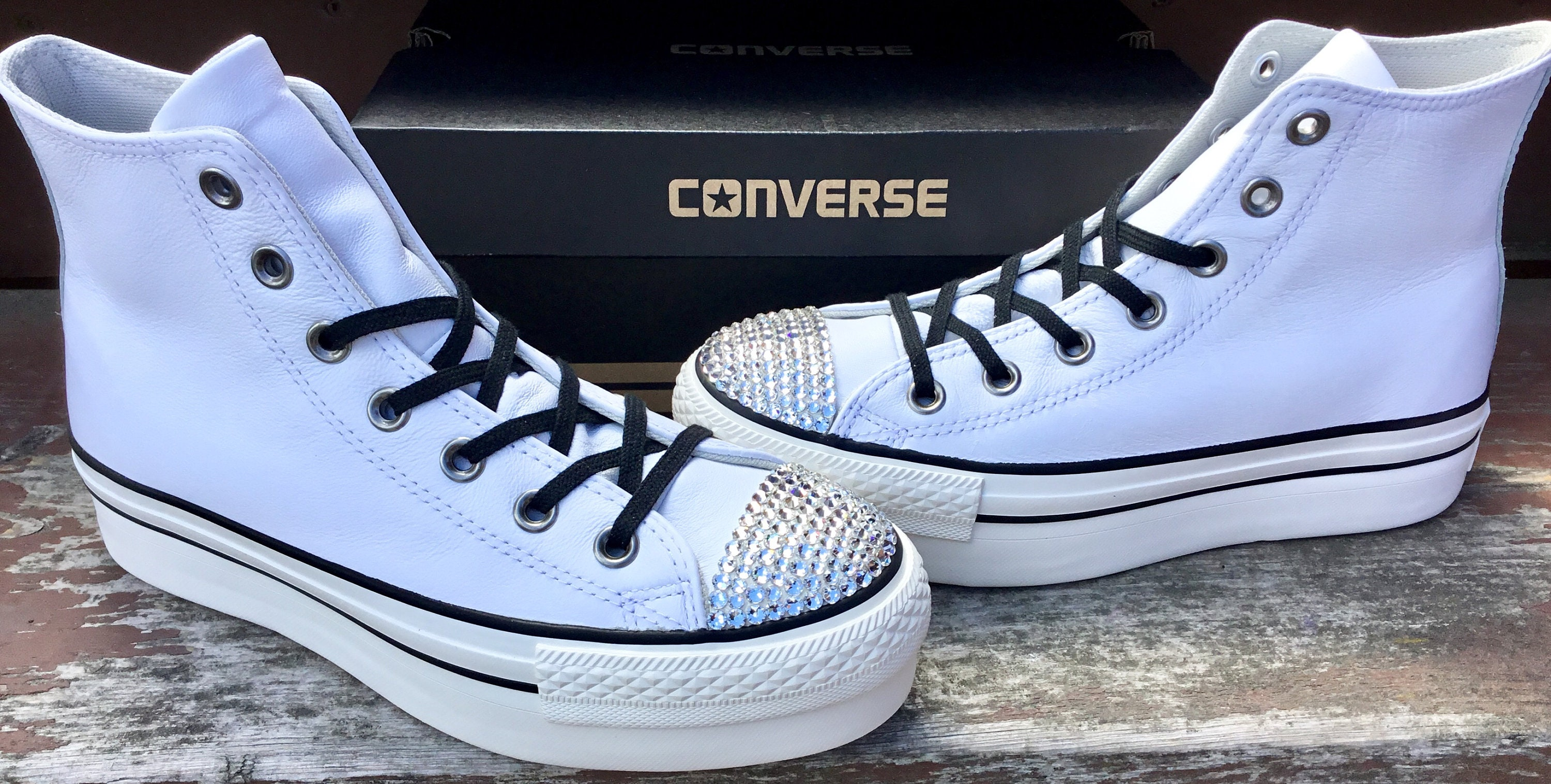 24513ee5a8d7 White Converse leather Platform Wedge High Top Lux Club Kicks Custom ...