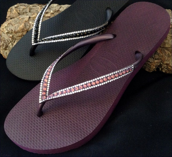 Purple Havaianas Slim Flip Flops Crystal Burgundy Wine Maroon Plum Eggplant Grape w/ Swarovski Rhinestone Jewel Thong Bling Beach Bride Shoe