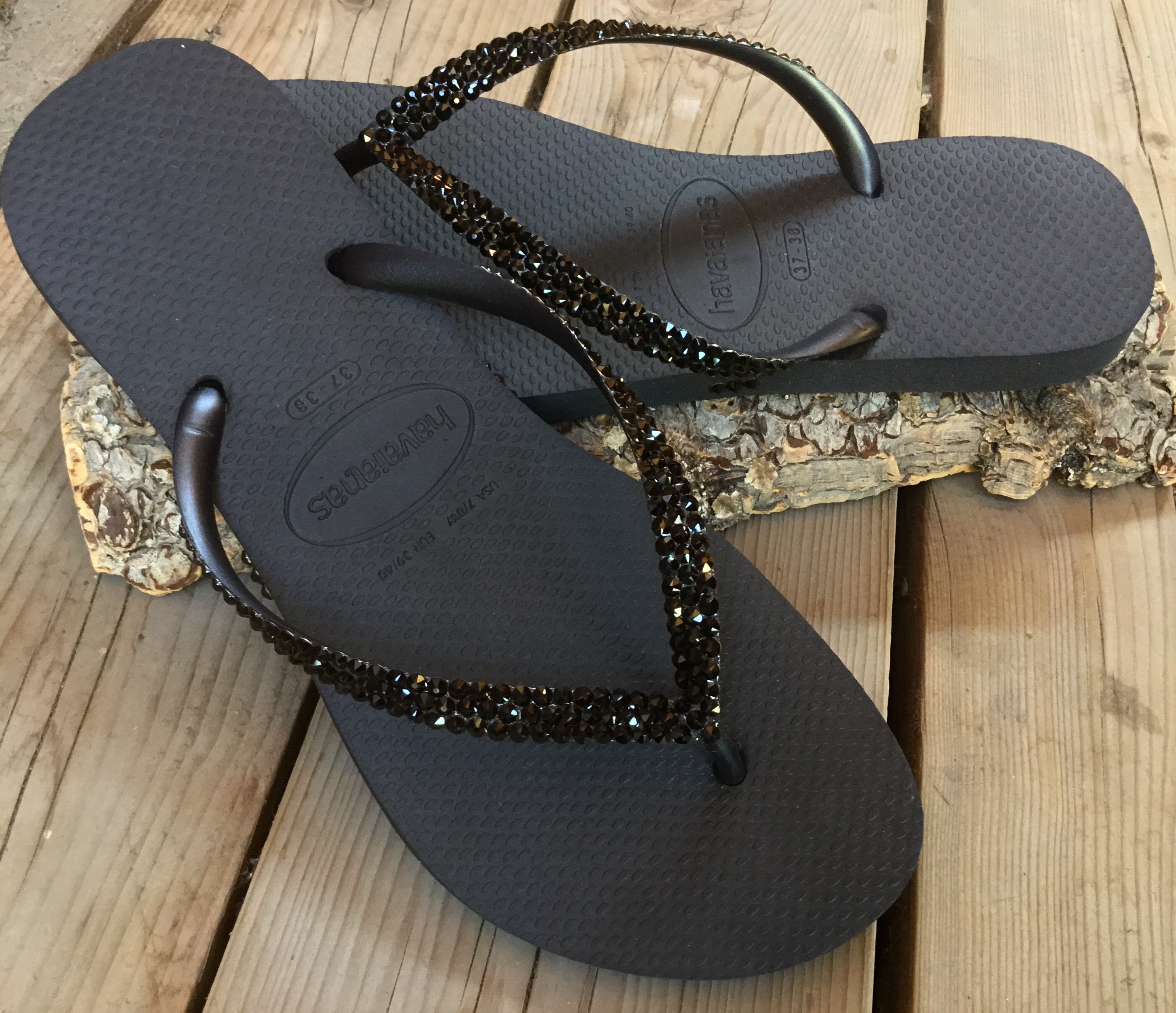 3772e5c43 Custom Black Havaianas Slim or Cariris flat Flip Flops w  Swarovski Crystal  Jewels Beach Cruise Thongs Vacation Rhinestone Reception Shoe