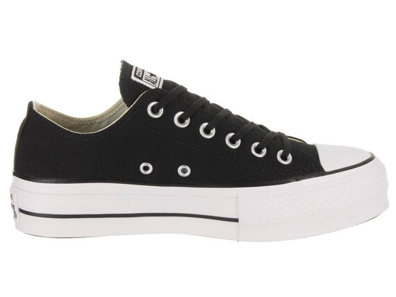 "Platform Converse 1.5"" heel wedge Black Canvas Low Club w/ Swarovski Crystal Rhinestone Chuck Taylor All Star Wedding Bridal Sneakers Shoes"