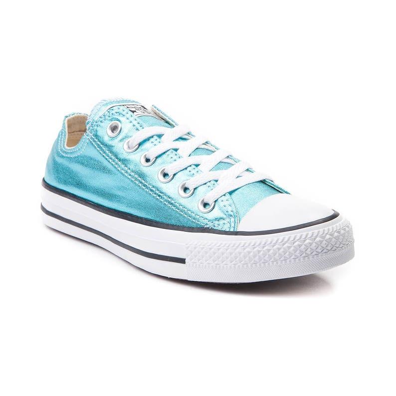e675208c2c688 Blue Converse Low Top Turquoise Teal Aqua Metallic Chuck Taylor Custom w/  Swarovski Crystal Rhinestones Jewel Bling All Star Sneakers Shoes