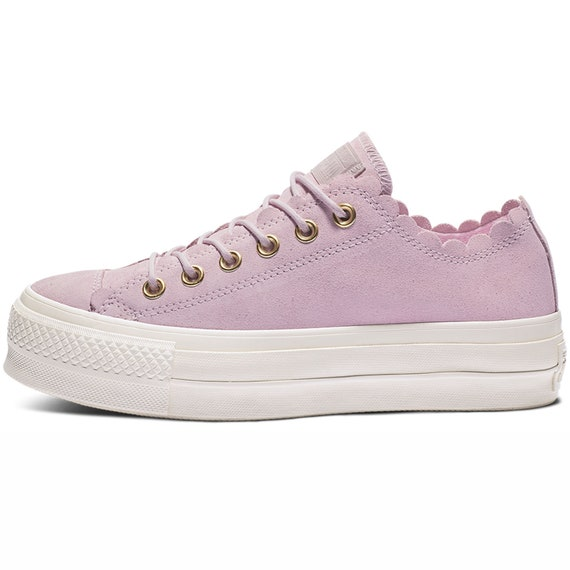 Pink Foam Converse Platform Ruffle Gold Frill Suede Leather Lift Low Kicks w/ Swarovski Crystal Chuck Taylor All Star Wedding Sneakers Shoes