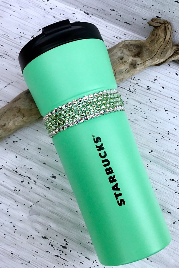Starbucks Green Stainless Steel Cup Swag w/ Swarovski Mint Sea foam Crystal 16oz Grande Large Tumbler Travel Coffee Tea Cup Rhinestone Gifts
