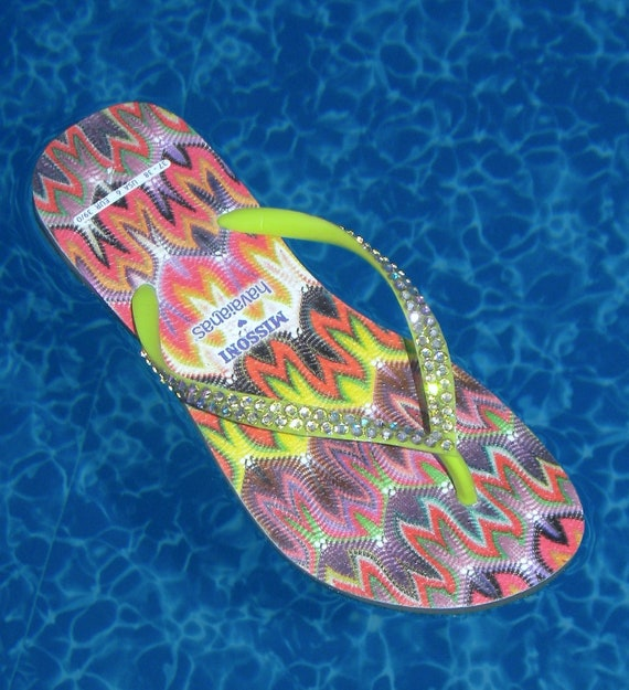 Custom Missoni Havaianas Slim Flat Flip Flops w/ Swarovski Crystal RARE collector rainbow Multicolor Rhinestone Jewels Beach Sandal Shoes