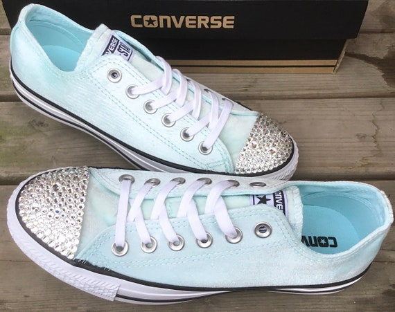 Baby Blue Converse Crush Velvet Low Top Chuck Taylor Custom Bridal Kicks Ice Sea Foam w/ Swarovski Crystal All Star Wedding Sneakers Shoes
