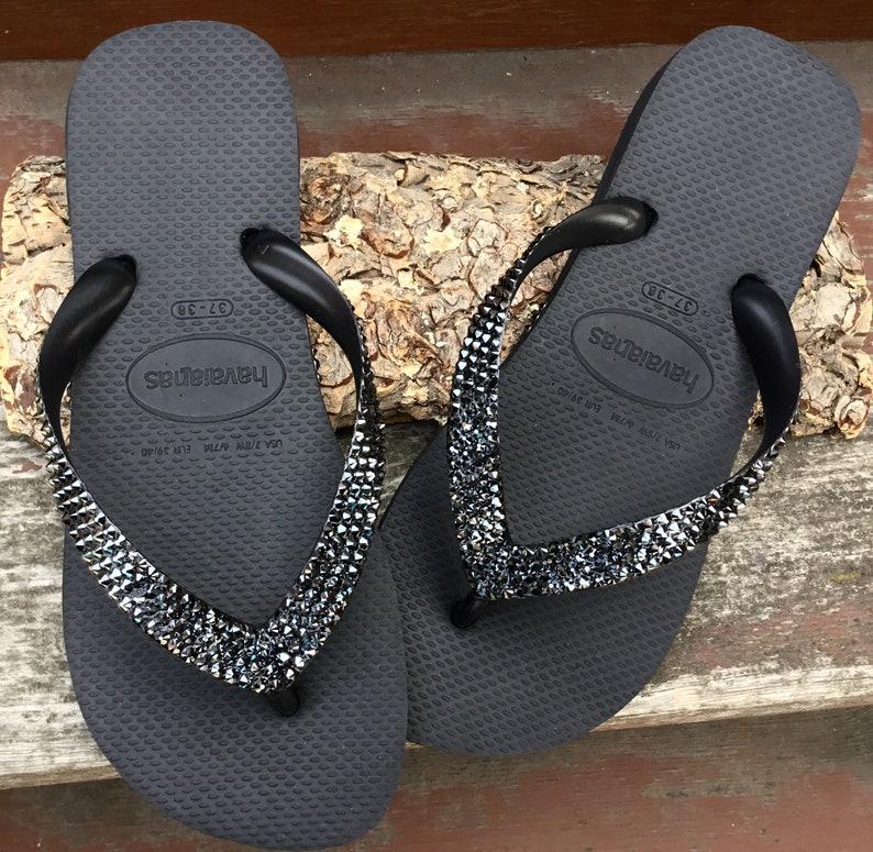 143904eb5340 Gray Hematite Custom Crystal Flip Flops solid w  Swarovski