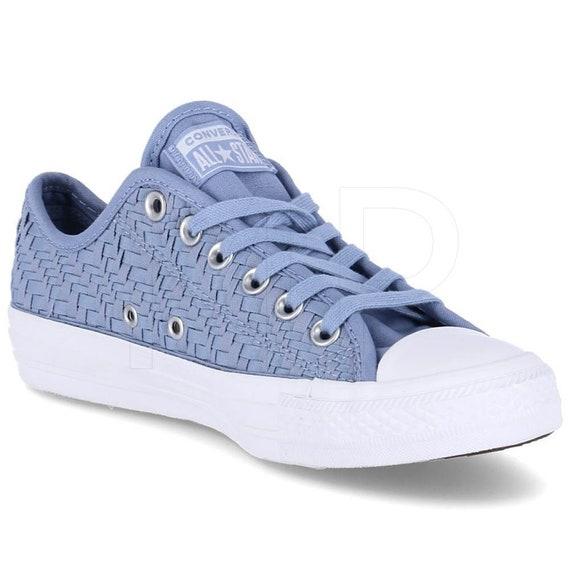 Blue lace Converse Weave Crochet Knit Low Mono Bride w/ Swarovski Crystal Chucks Rhinestone All Star Reception Bridal Wedding Sneaker Shoe