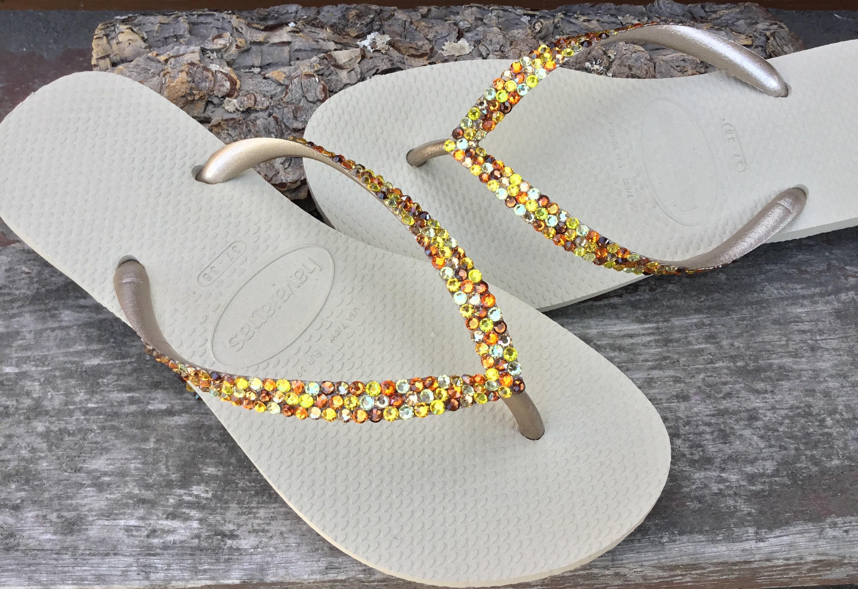 0716c1cdf Gold Havaianas Slim Autumn Rainbow Crystal Flip Flops w  Swarovski Jewels  Multi Color Confetti Rhinestones Bridal shoes Wedding Slip on Flat