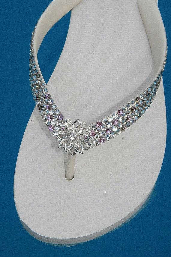 Custom Wedding Confetti Crystal Flip Flops w/ Swarovski Rhinestone Jewels Havaianas flat or Cariris Wedge Heel Navette Flower Bridal Shoes